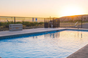 outdoor pool and the sunset